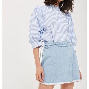 MOTO Wrap Denim Skirt